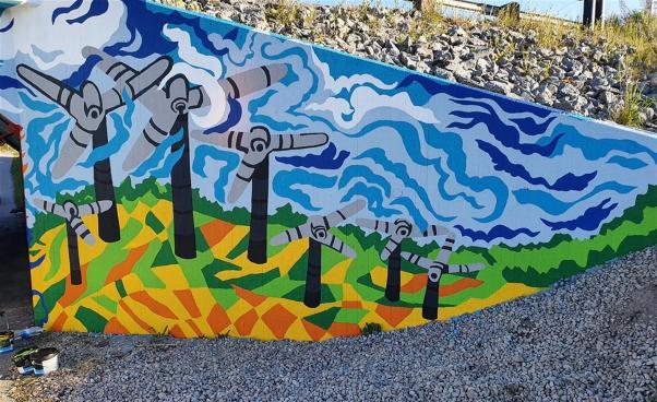 Muralmålning av vindkraftverk