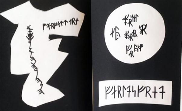 Tecknade symboler på grafiska former i svart och vitt. (bild)