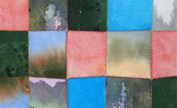 Färgade textilrutor sammansatta med sömnadsstygn. (bild)