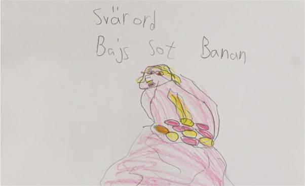 Barnteckning på vitt papper med orden Svärord, Bajs, sot, Banan. (Teckning)