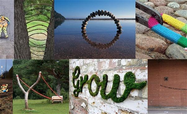 Kollage av exteriöra bilder  i grönt och grått vid vatten, träd och stenar. (bild)