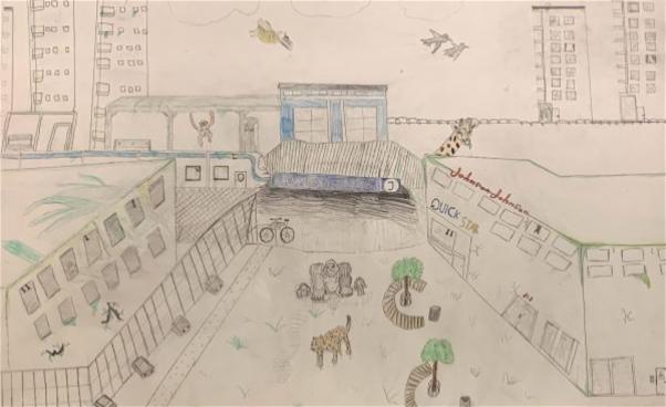 Teckning av vilda djur och vy mot tunnelbanestation