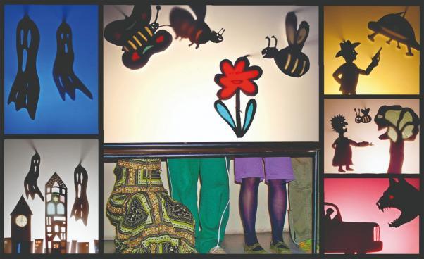 Foto av olika skuggspelscenografier och dockor,