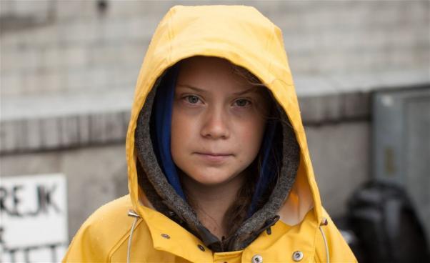 Greta Thunberg i regnrock
