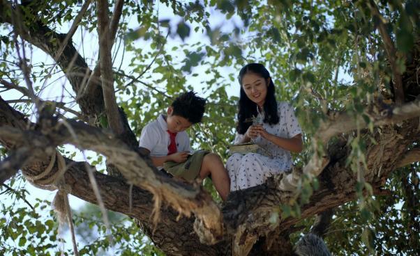 Två barn sitter i ett träd