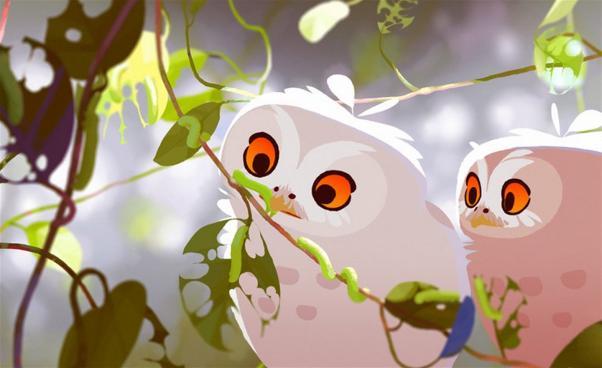 Två fåglar tittar på löv